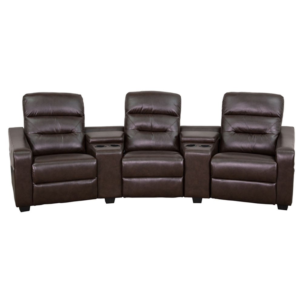 Futura Series 3 Seat Reclining Leather Theater Seating Unit Brown Dcg Stores