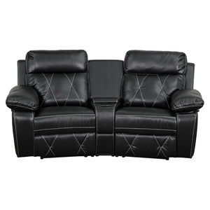 Reel Comfort Series 2-Seat Leather Recliner - Black, Curved Cup Holders