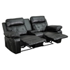 Reel Comfort Series 2-Seat Leather Recliner - Black, Straight Cup Holders - FLSH-BT-70530-2-BK-GG
