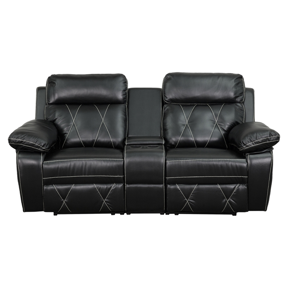 Reel Comfort Series 2 Seat Leather Recliner Black Straight Cup Holders Dcg Stores