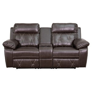 Reel Comfort Series 2-Seat Leather Recliner - Brown, Straight Cup Holders