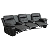 Reel Comfort Series 3-Seat Leather Recliner - Black, Curved Cup Holders - FLSH-BT-70530-3-BK-CV-GG