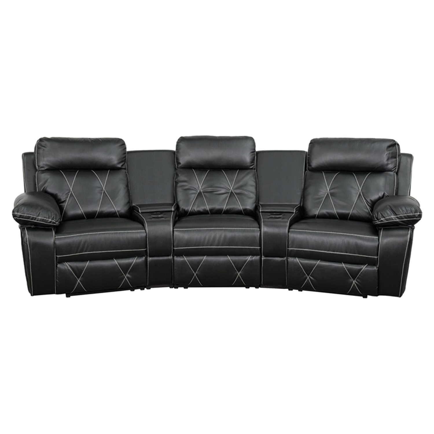 Reel Comfort Series 3-Seat Leather Recliner - Black Curved Cup Holders  sc 1 st  DCG Stores & Home Theater Seating | DCG Stores islam-shia.org