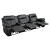 Reel Comfort Series 3-Seat Leather Recliner - Black, Straight Cup Holders - FLSH-BT-70530-3-BK-GG