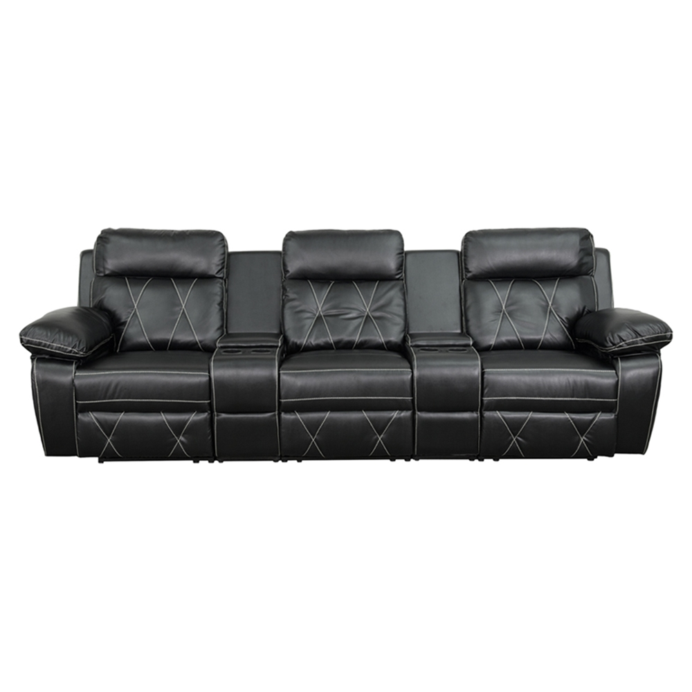 Reel Comfort Series 3 Seat Leather Recliner Black Straight Cup