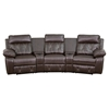 Reel Comfort Series 3-Seat Leather Recliner - Brown, Curved Cup Holders - FLSH-BT-70530-3-BRN-CV-GG