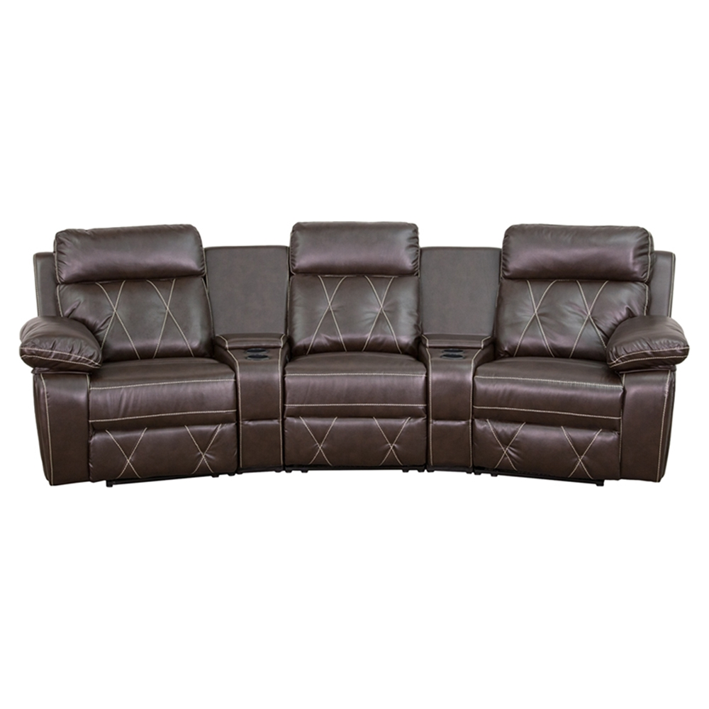 Reel Comfort Series 3 Seat Leather Recliner Brown Curved Cup Holders Dcg Stores
