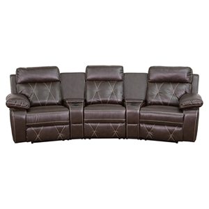 Reel Comfort Series 3-Seat Leather Recliner - Brown, Curved Cup Holders