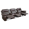 Reel Comfort Series 3-Seat Leather Recliner - Brown, Straight Cup Holders - FLSH-BT-70530-3-BRN-GG