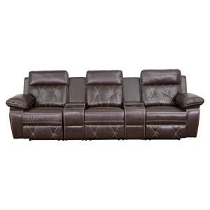 Reel Comfort Series 3-Seat Leather Recliner - Brown, Straight Cup Holders
