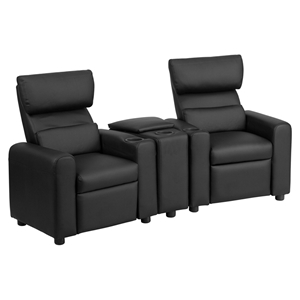 Leather Reclining Theater Seating - Kid, Storage Console, Black