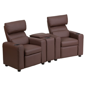 Leather Reclining Theater Seating - Kid, Storage Console, Brown