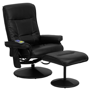 Massaging Leather Recliner and Ottoman - Black