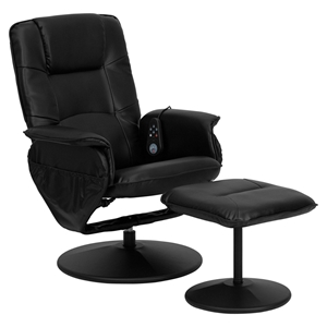 Massaging Recliner and Ottoman - Black, Wrapped Base, Integrated Headrest