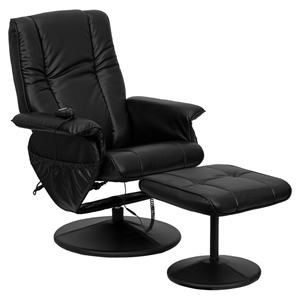 Massaging Leather Recliner and Ottoman - Black, Wrapped Base