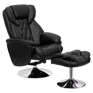 Leather Recliner and Ottoman - Transitional, Black