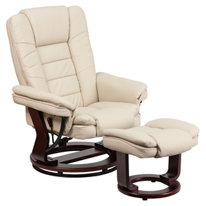 Leather Recliner and Ottoman - Swiveling Base, Beige