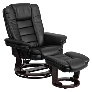 Bonded Leather Recliner and Ottoman - Swiveling Base, Swivel Seat, Black