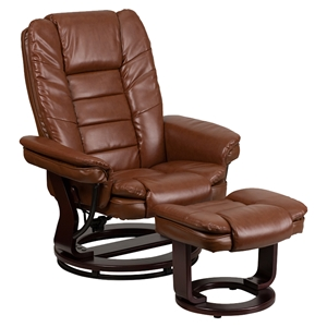 Leather Recliner and Ottoman - Swiveling Base, Brown