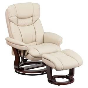 Leather Recliner and Ottoman - Swiveling Base, Swivel Seat, Beige