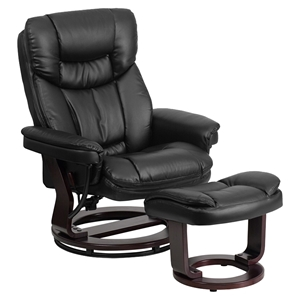 Leather Recliner and Ottoman - Swiveling Base, Black