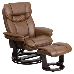 Leather Recliner and Ottoman - Swiveling Base, Palimino