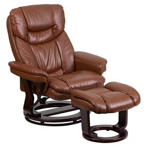 Leather Recliner and Ottoman - Integrated Headrest, Swivel Seat, Brown