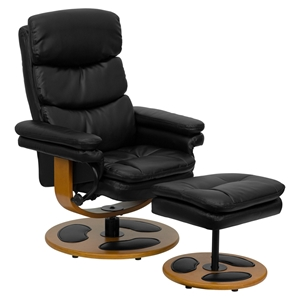 Leather Recliner and Ottoman - Wood Base, Black