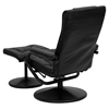 Leather Recliner and Ottoman - Wrapped Base, Black - FLSH-BT-7862-BK-GG