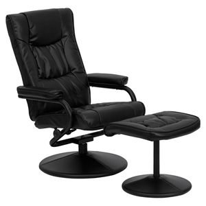 Leather Recliner and Ottoman - Wrapped Base, Black