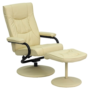 Leather Recliner and Ottoman - Wrapped Base, Cream