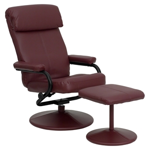 Leather Recliner and Ottoman - Pillow Top Headrest, Wrapped Base, Burgundy