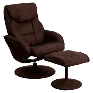 Microfiber Recliner and Ottoman - Wrapped Base, Brown