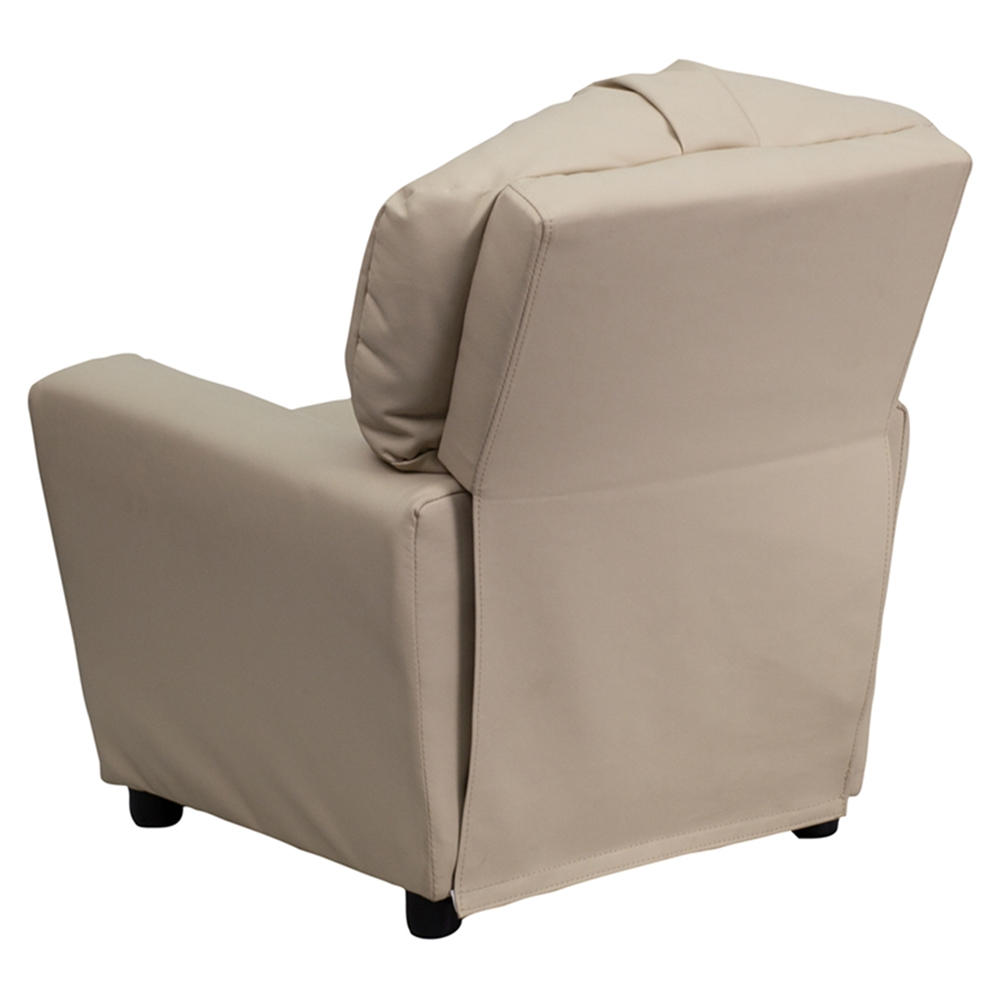 Upholstered Kids Recliner Chair Cup Holder Beige Dcg