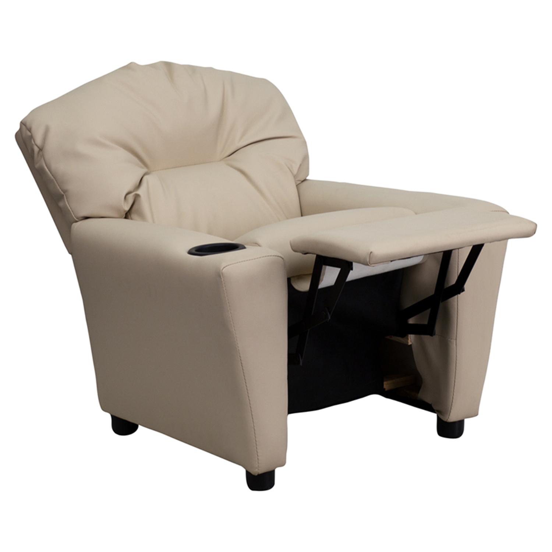 ... Upholstered Kids Recliner Chair   Cup Holder, Beige   FLSH BT 7950