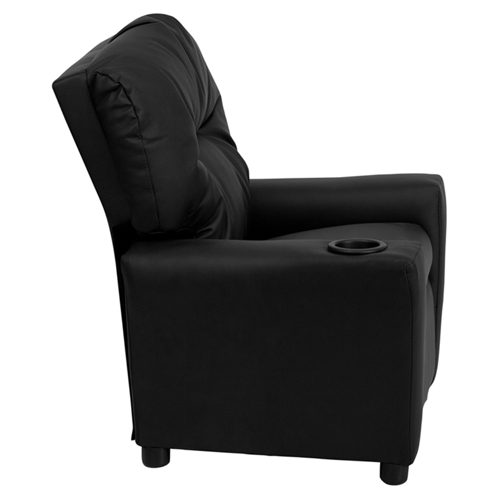 Leather kids recliner chair cup holder black dcg stores for Toddler leather chair