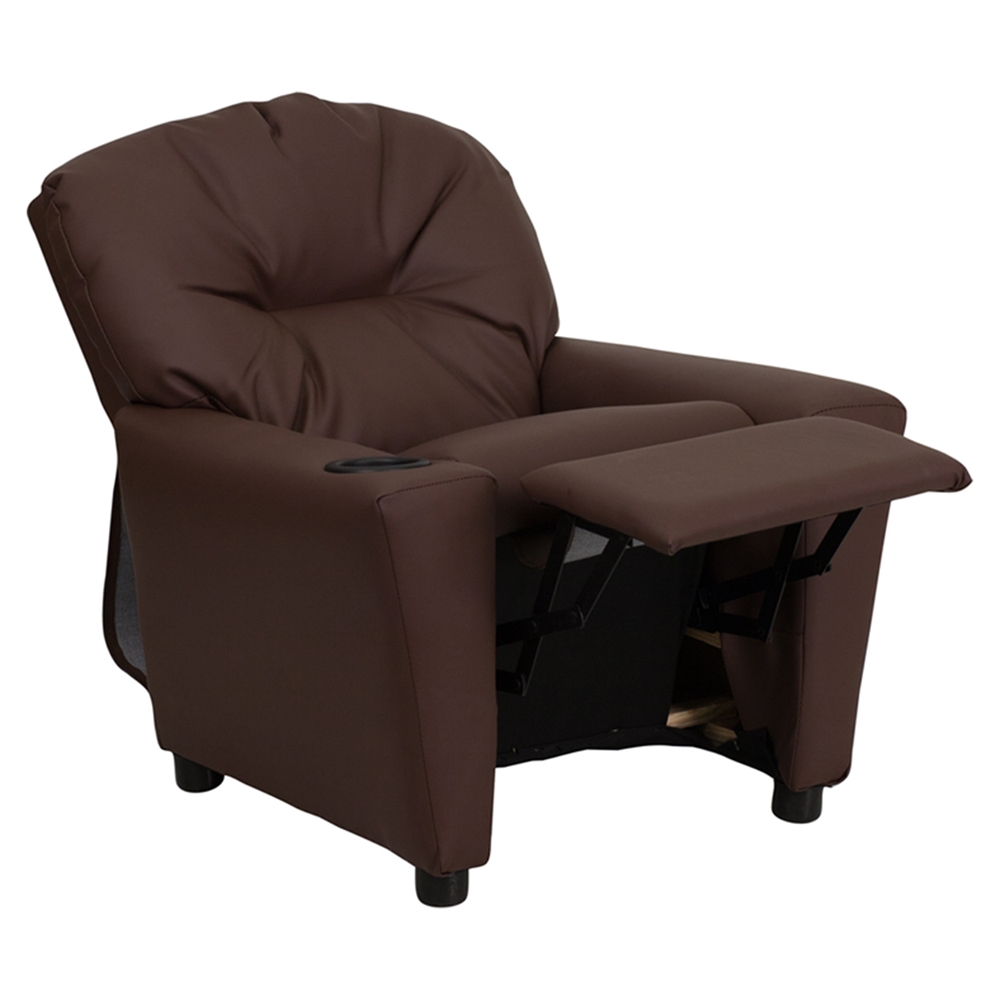 Leather kids recliner chair cup holder brown dcg stores for Kids chair leather
