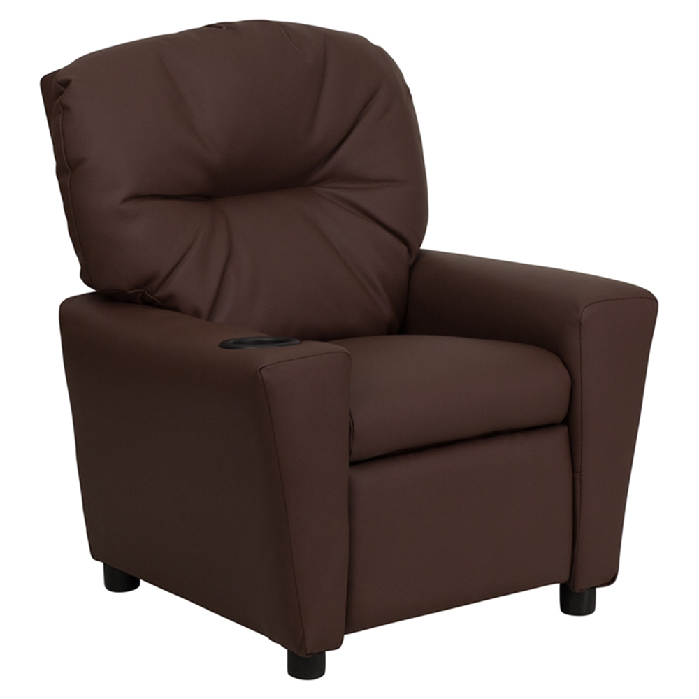 Leather kids recliner chair cup holder brown dcg stores for Toddler lounge chair