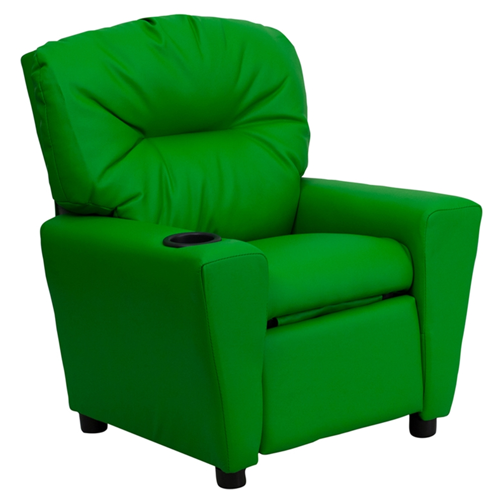 Upholstered kids recliner chair cup holder green dcg for Toddler lounge chair