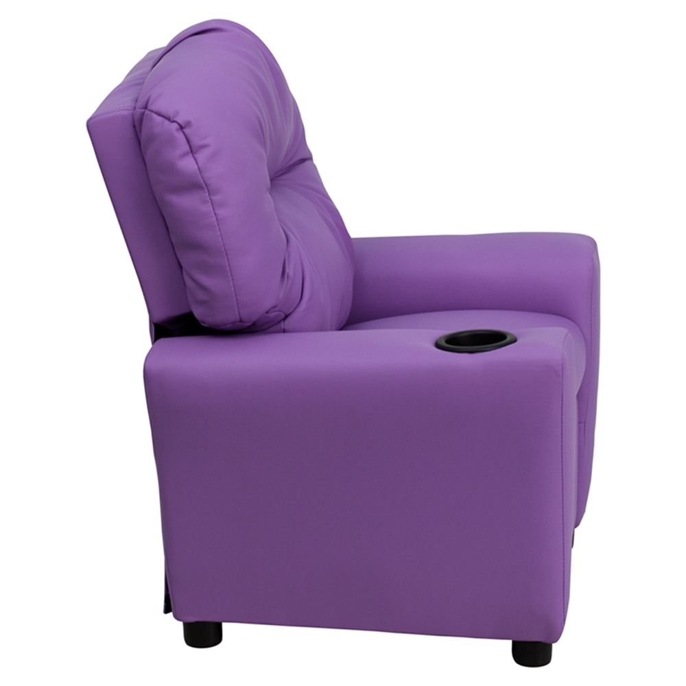 Upholstered kids recliner chair cup holder lavender for Kids upholstered chair