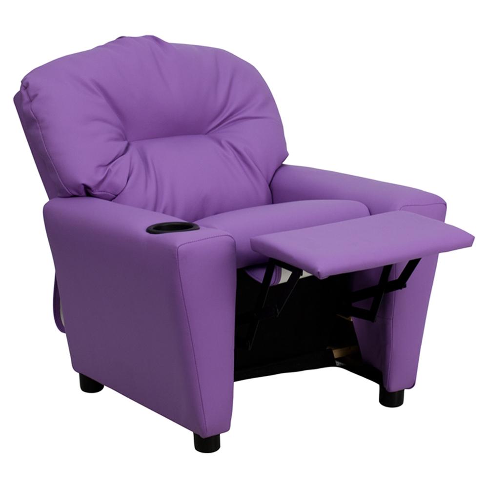 Upholstered Kids Recliner Chair Cup Holder Lavender