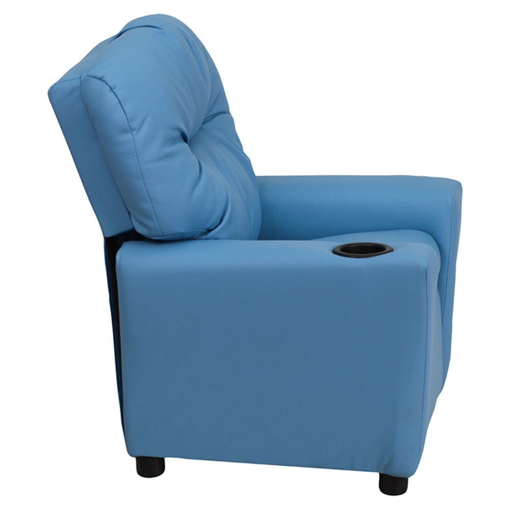 Upholstered Kids Recliner Chair Cup Holder Light Blue