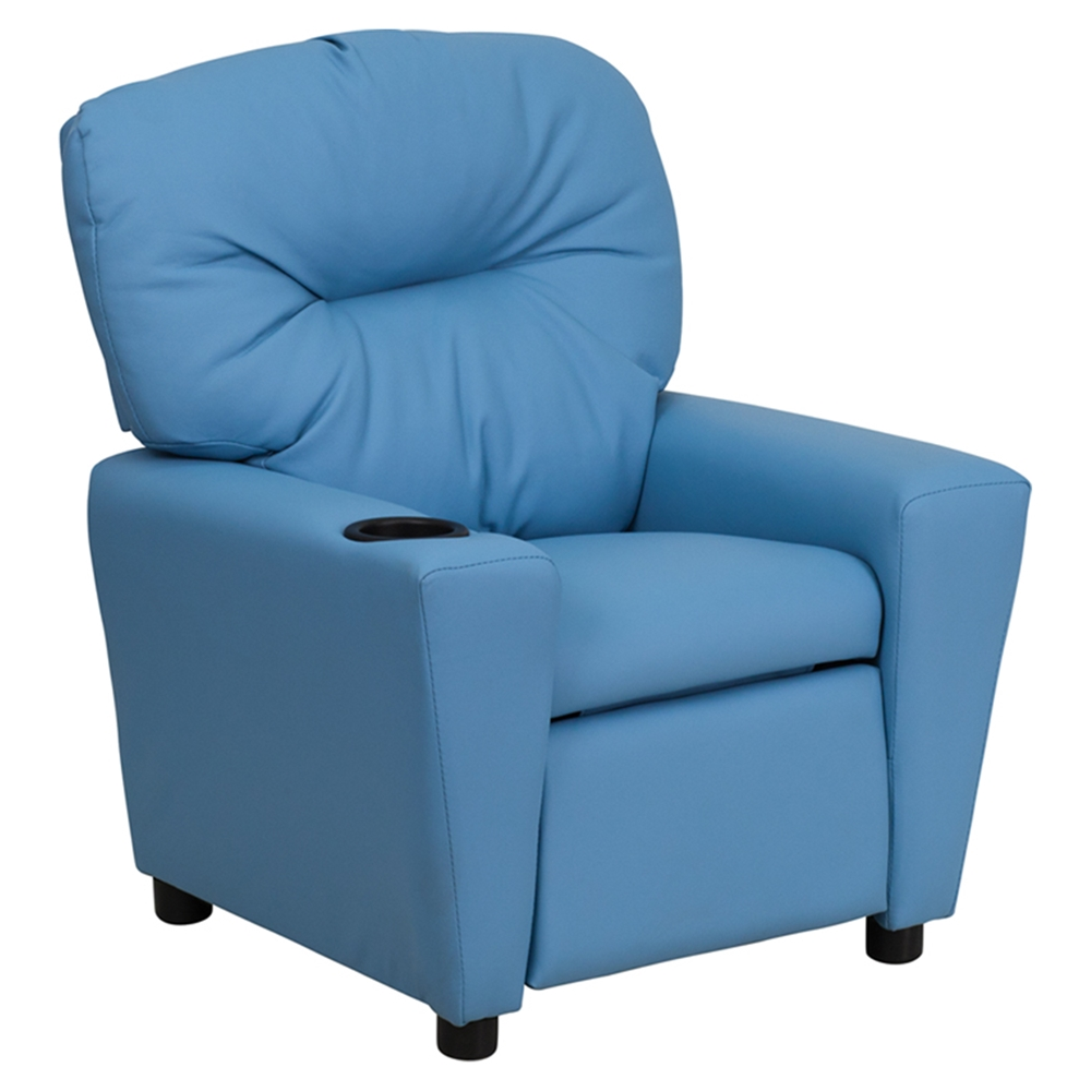 Upholstered Kids Recliner Chair - Cup Holder, Light Blue ...