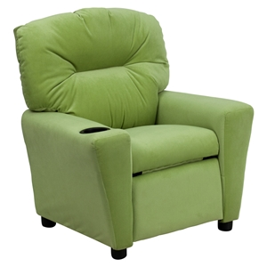 Microfiber Kids Recliner Chair - Cup Holder, Avocado