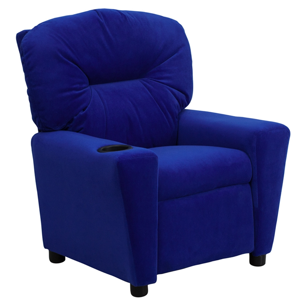 Microfiber Kids Recliner Chair Cup Holder Blue Dcg Stores
