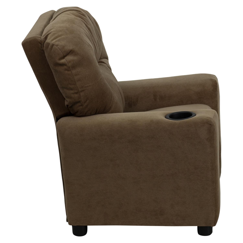 ... Microfiber Kids Recliner Chair   Cup Holder, Brown   FLSH BT 7950  ...