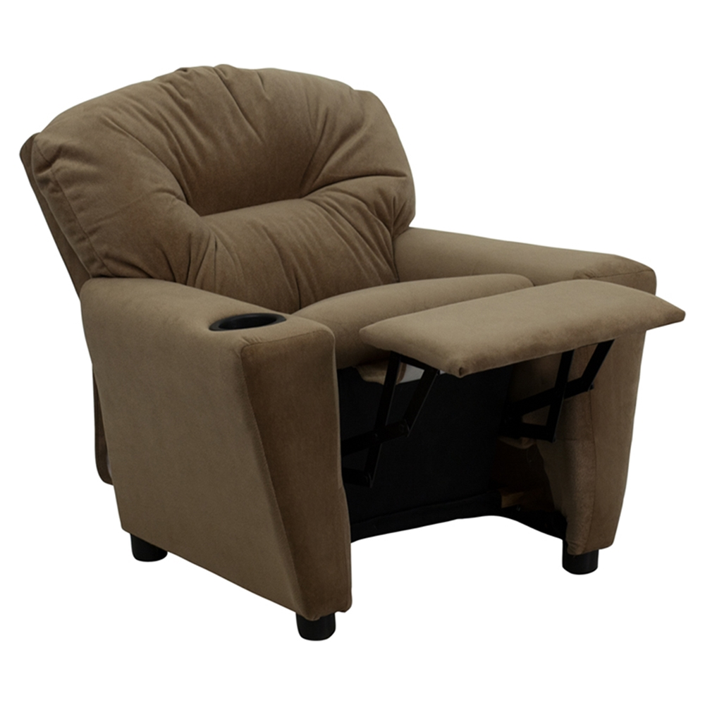Microfiber kids recliner chair cup holder brown dcg for Kids recliner chair