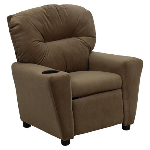 Microfiber Kids Recliner Chair Cup Holder Brown Dcg