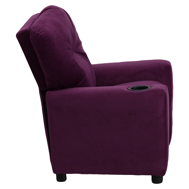 ... Microfiber Kids Recliner Chair   Cup Holder, Purple   FLSH BT 7950  ...