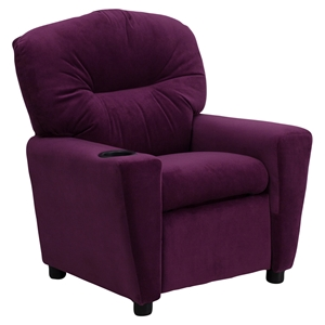 Microfiber Kids Recliner Chair - Cup Holder, Purple